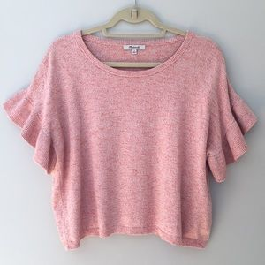 Madewell pink flutter sleeve cropped knit top